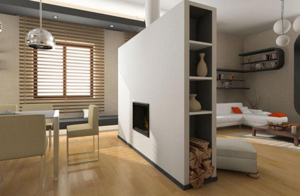 Декоративная перегородка с камином для зонирования помещения