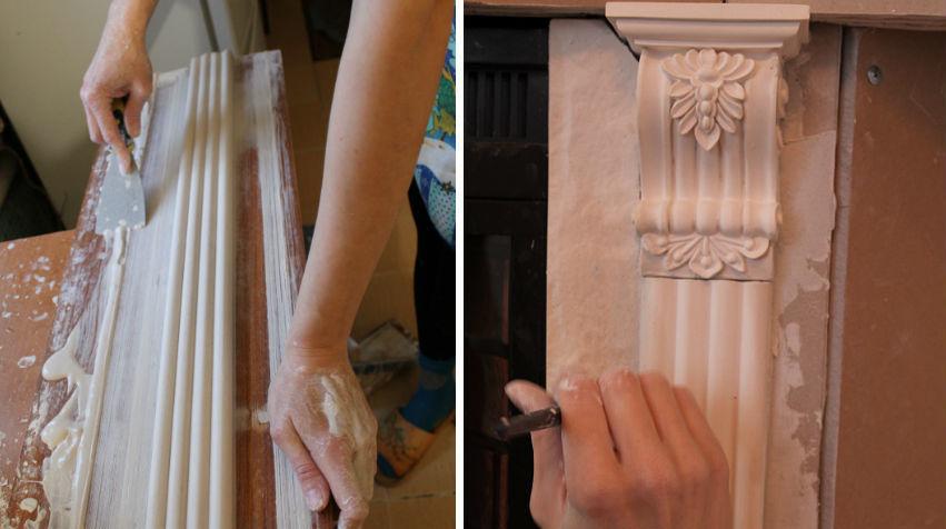 Декорирование камина гипсовыми тягами