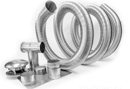 Гофротруба и аксессуары для гибкого дымохода