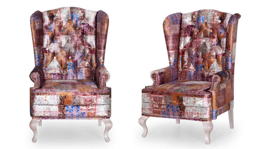 Каминное кресло с ушами тон массива-слоновая кость