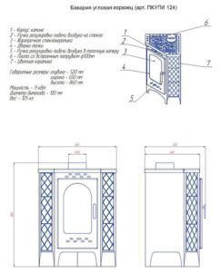 Печь-камин Бавария угловая изразец с плитой