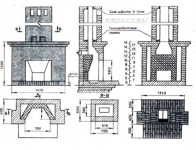 Пример чертежа камина