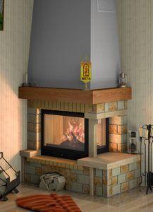 Угловой печь-камин кирпичный