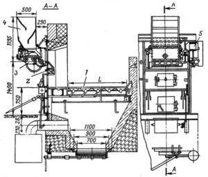 Разрез и общий вид фронта механичсекой топки