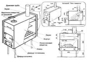 Чертеж металлической отопительной печки