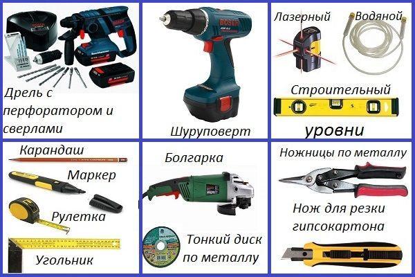 Инструменты для монтажа каркаса гипсокартонной конструкции