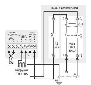Электрическая схема подключения терморегулятора теплого пола