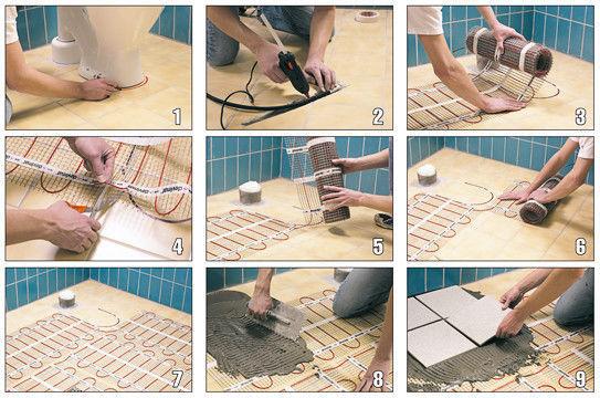 Устройство теплого пола электрического под плитку