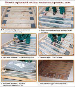Монтаж деревянной системы теплого пола реечного типа