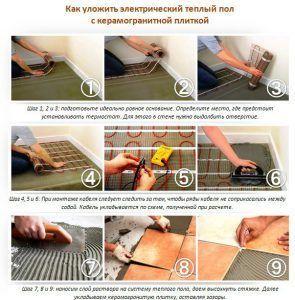 Монтаж электрического теплого пола под керамическую плитку