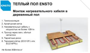 Монтаж нагревательного кабеля в деревянный пол
