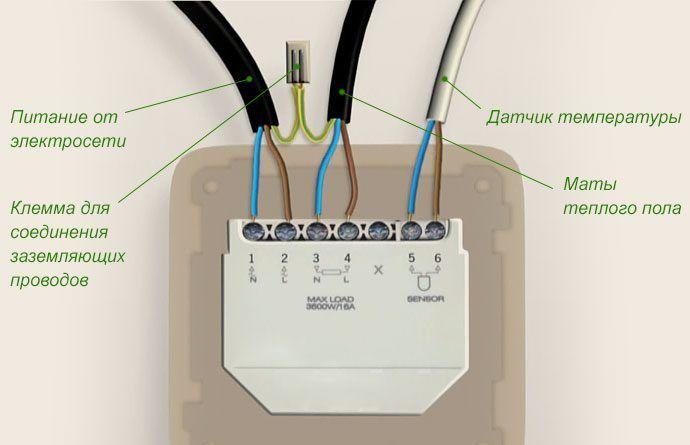 Подключение проводного контроллера для теплого пола