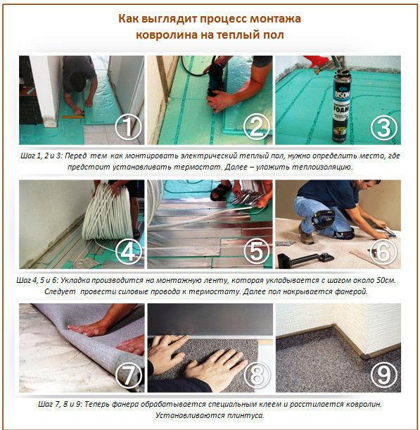 Пошаговая инструкция укладки ковролина на теплый пол