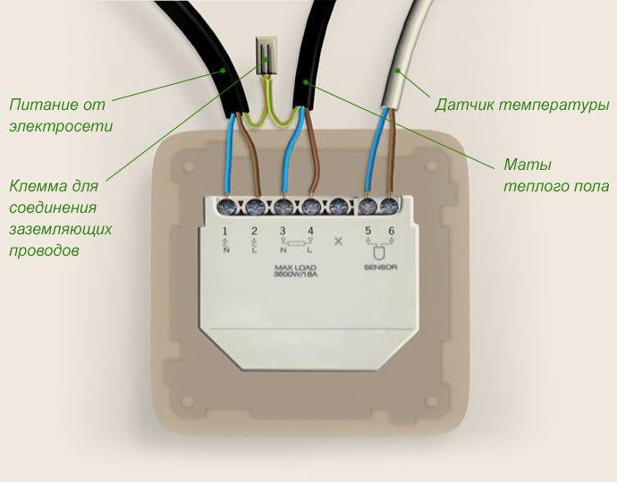 Схема подключения электрического термостата