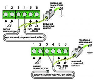 Схема подключения к двухпроводной электрической сети терморегулятора iWarm 710