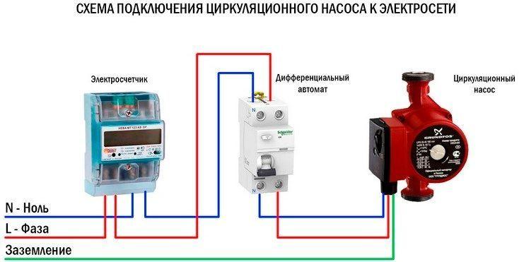 Схема подключения циркуляционного насоса к электросети