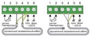 Схемы подключения одножильного и двужильного кабеля для теплого пола