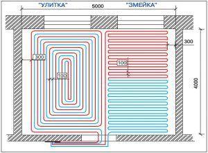 Схемы укладки труб водяного пола
