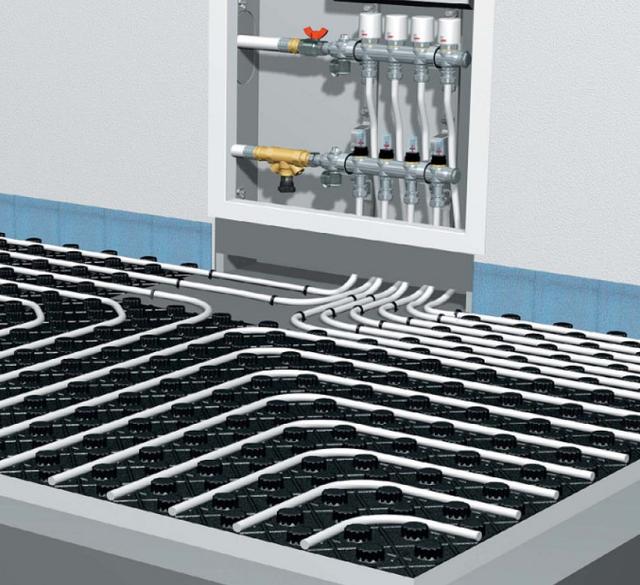 Система водяного теплого пола из труб Pert