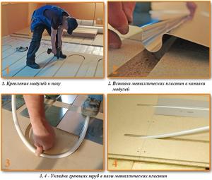 Технология укладки греющих труб в металлические пластины