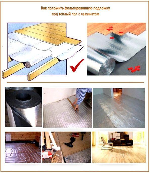 Укладка фольгированной подложки под теплый пол