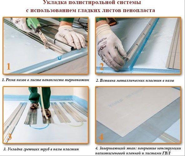 Укладка полистирольной системы с использованием гладких листов пенопласта для теплого пола