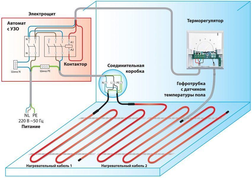 Схема подключения терморегулятора с датчиком в систему отопления теплый пол