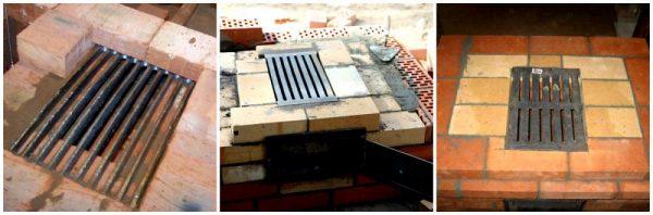 Установленные колосниковые решетки в печь