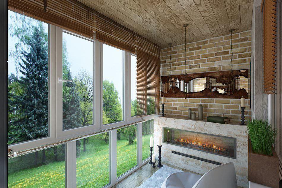 Дизайн балкона с камином