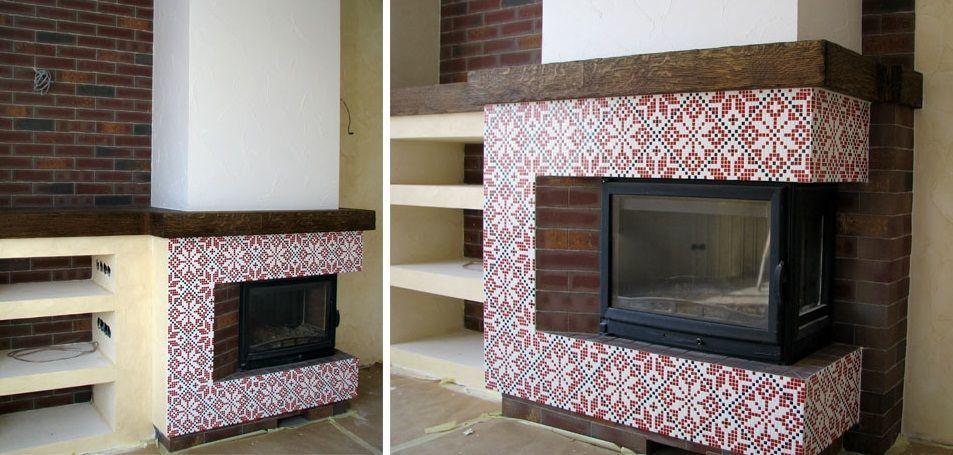 Декор камина мозаикой