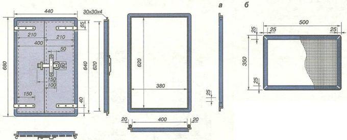 Дверца и сетка варочной камеры печи Волкова. Размеры в мм. а — дверца варочной камеры; б — сетка варочной камеры.