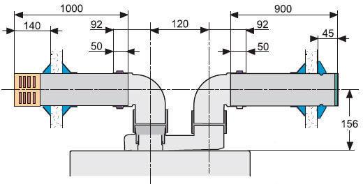 Габаритные размеры горизонтального коаксиального дымохода из эмалированной стали