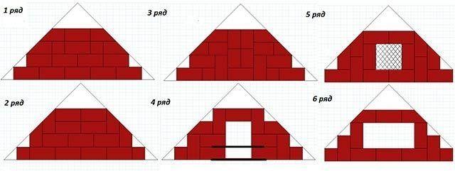 Порядовка углового камина 1-6 ряд