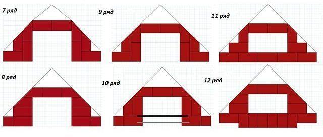 Порядовка углового камина 7-12 ряды