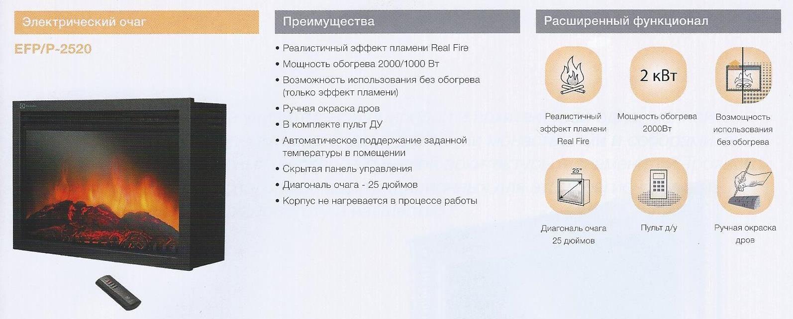 Преимущества камина Electrolux EFP P-2520