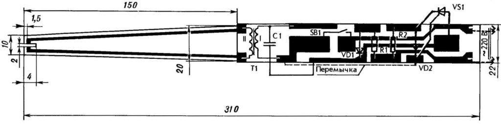 Схема электрической зажигалки для каминов с регулируемой мощностью