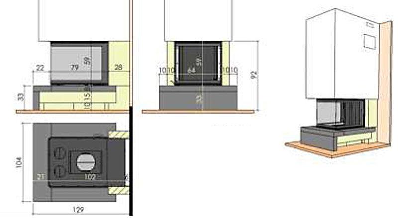 Схема установки трёхстороннего камина
