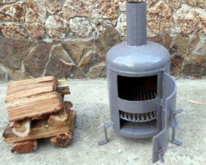 Вертикальная круглая печь на дровах