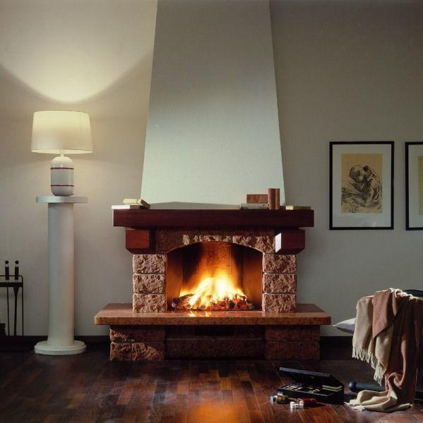 Гостиная с камином и современный дизайн интерьера