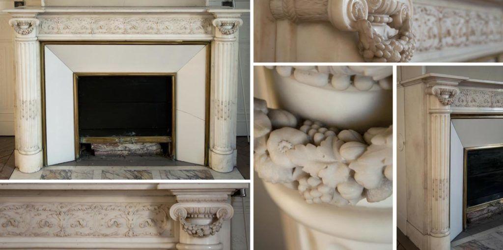 Красивый старинный камин в стиле Людовика XVI с полуколоннами, изготовленный из полускульптурного каррарского мрамора.