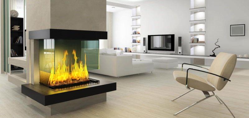 Стеклянный камин без дыма считается важным элементом интерьерного декора благодаря своей светораспределительной способности
