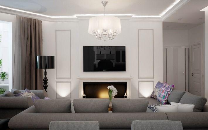 Гармоничное сочетание портала камина и настенного телевизора