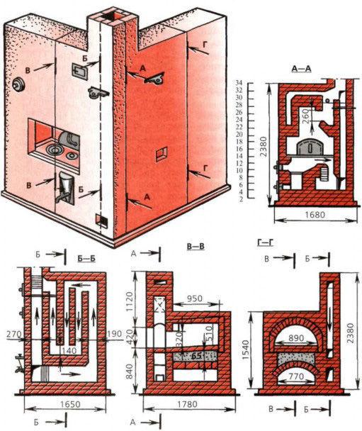 схемы отопительных печей для дома фото документе