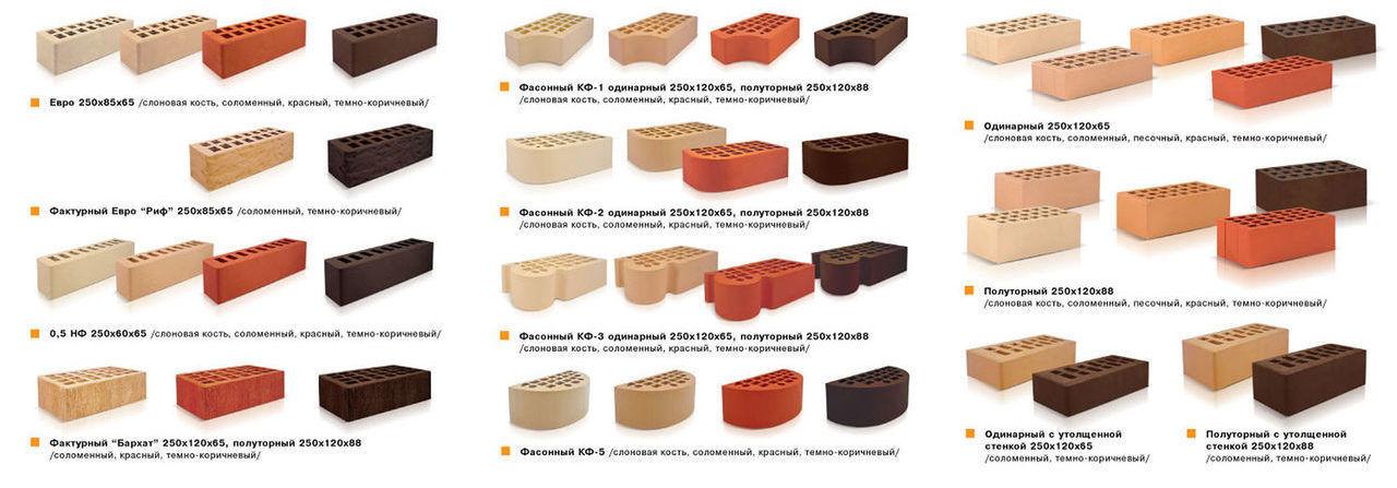 Варианты кирпича , отвечающего стройстандартам