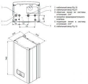 Габаритные и присоединительные размеры электрического котла для теплого пола