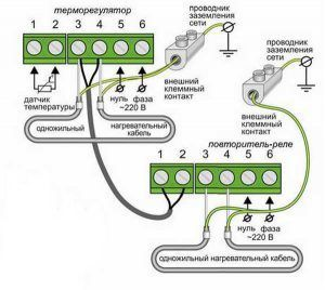Подключение кабельного мата к термостату