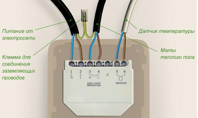 Подключение терморегулятора к электросети