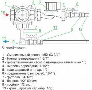 Схема подключения одного контура теплого пола