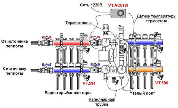 Схема смесительного узла для теплого пола