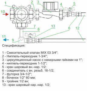 Спецификация смесительного узла Valtec для теплого пола